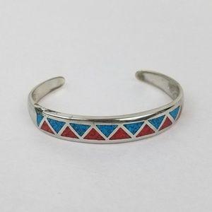 Jewelry - Crushed Turquoise Inlaid SILVER Boho Bracelet